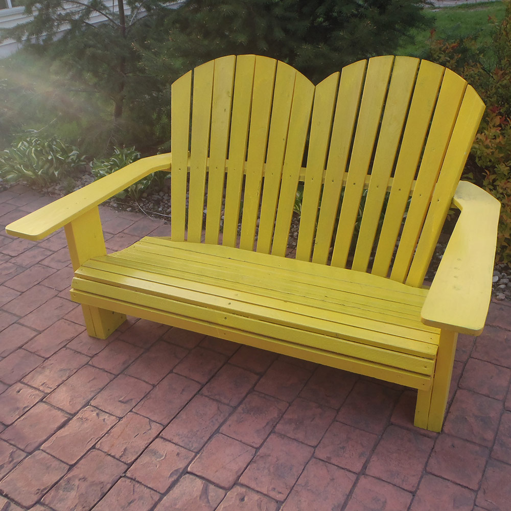 Double adirondack images for Outdoor furniture yellow