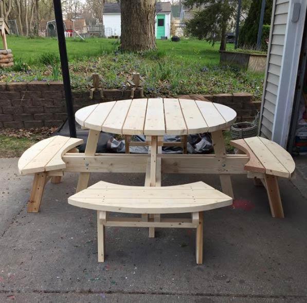 Edu0027s Outdoor Furniture   Circular Table U0026 Benches